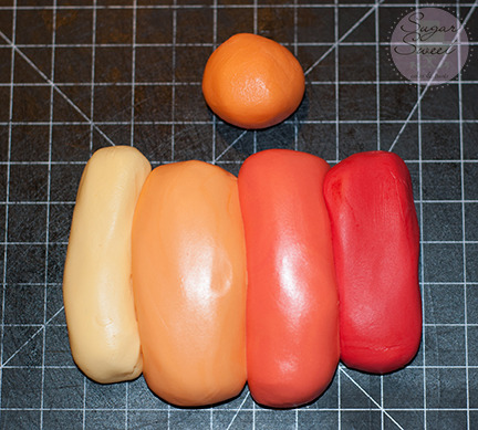 Fondant Ombre Yellow Orange Red (step 4)