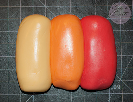 Fondant Ombre - Yellow Orange Red (step 1)