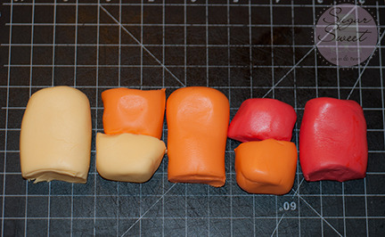 Fondant Ombre Yellow Orange Red (step 2)