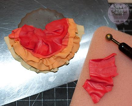 Fondant Ombre Frills Ruffles Cupcake Topper (step 8)