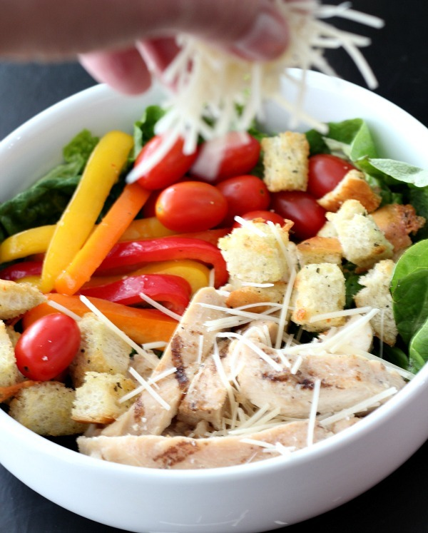 Grilled Chicken salad with parmesan cheese and homemade croutons