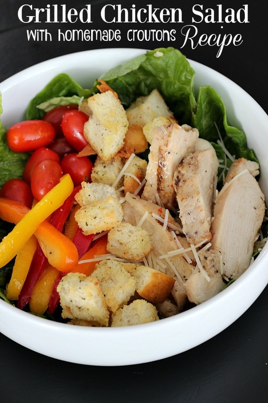 Grilled Chicken Salad with homemade croutons recipe