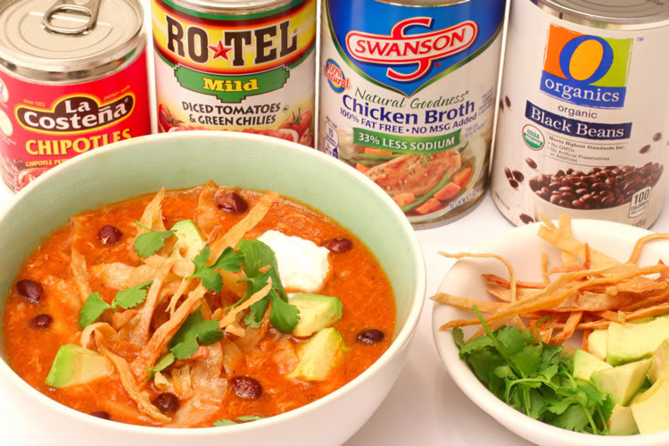 Recipe For Spicy Tortilla Soup With Shredded Chicken & Black Beans