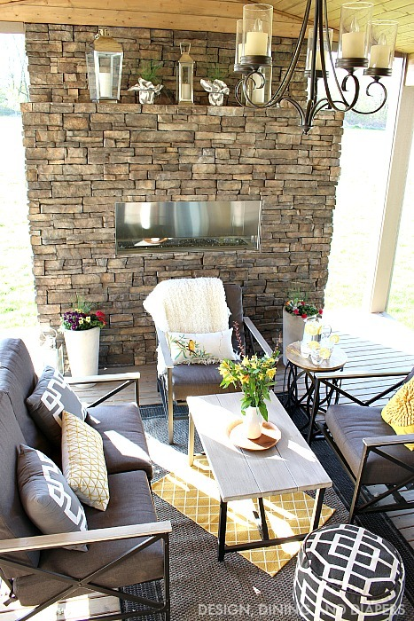 GRAY AND YELLOW OUTDOOR LIVING SPACE