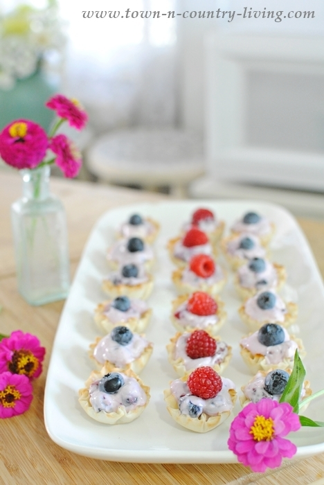 Platter of Mini Cream Cheese Fruit Tarts made with frozen fruit