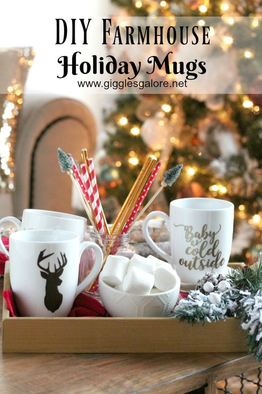 DIY Farmhouse Holiday Vinyl Mug - Christmas Crafts with Cricut by Mariah Leeson