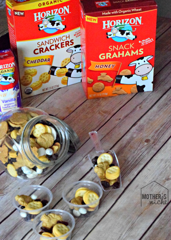 Such a fun way to do snacks. Make up a ready-to-go snack mix for the kids