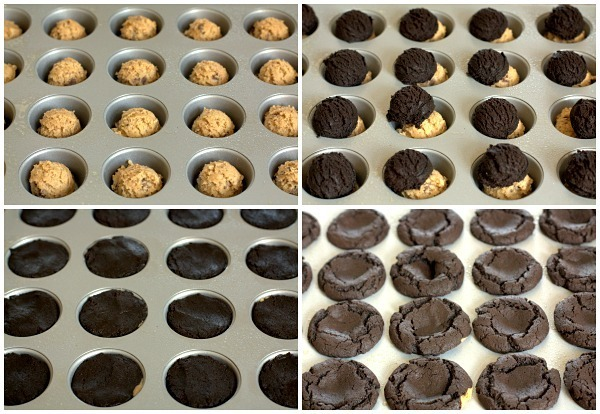 A collage of process shots for making Cherry and Chocolate Brookie Cups