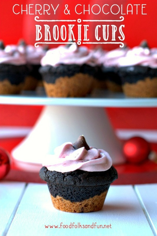 Cherry and Chocolate Brookie cups on a cake stand with text overlay for Pinterest