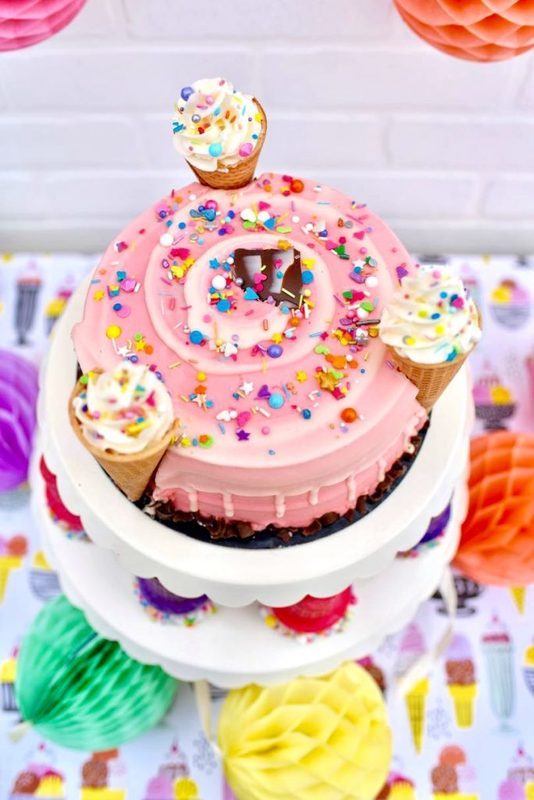 Ice cream party cake for tween and teen girls