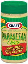 A close up of a jar of Kraft Parmesan Cheese.
