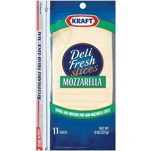 A close up of Kraft mozzarella cheese slices.