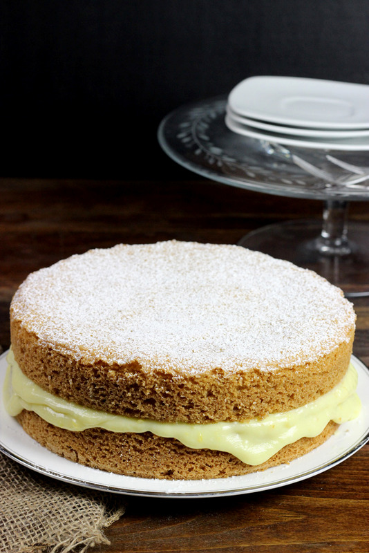 Olive Oil Cake with Lemon Cream Filling #oliveoil #lemon